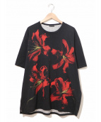 LAD MUSICIAN(ラッドミュージシャン)の古着「リリィプリントビッグTシャツ」|ブラック