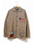 POLO COUNTRY(ポロカントリー)の古着「[古着]馬柄カウチンニットカーディガン」|ベージュ