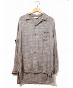 THEE(シー)の古着「オープンカラーチェックシャツ」|ブラウン