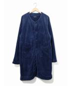 Engineered Garments(エンジニアドガーメンツ)の古着「ポリシャギーフリースノーカラーコート」|ネイビー