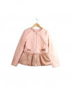 GALLERY VISCONTI(ギャラリービスコンティ)の古着「ベロアコンビ中綿ノーカラージャケット」|ピンク