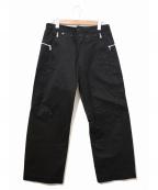 Y's YOHJI YAMAMOTO(ワイズ ヨウジヤマモト)の古着「[OLD]ジップデザインマリンパンツ」 ブラック