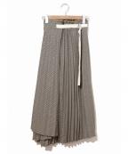 Uhr(ウーア)の古着「チェックラッププリーツベルトスカート」|オリーブ