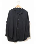 Y's YOHJI YAMAMOTO(ワイズ ヨウジヤマモト)の古着「[OLD]コットンギャバジンオープンカラーシャツ」 ネイビー