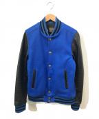 skookum(スクーカム)の古着「レザースリーブコンチョボタンスタジャン」 ブルー