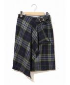 ()の古着「チェックラップスカート」 ネイビー×イエロー