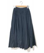 COMME des GARCONS(コムデギャルソン)の古着「80'sギャザープリーツサーキュラーロングスカート」|ネイビー