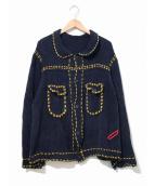 PHINGERIN(フィンガリン)の古着「ニットジャケット / ニットカーディガン」|ネイビー×イエロー