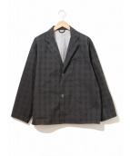 ()の古着「ナイロンチェックテーラードジャケット」 グレー