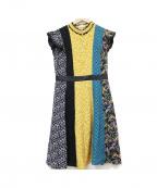 GUILD PRIME(ギルドプライム)の古着「フラワーブロッキングドレス」 マルチカラー