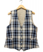LARDINI(ラルディーニ)の古着「コットンリネンチェックジレベスト」|ブルー×ベージュ