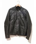 BROOKS(ブルックス)の古着「[古着]シングルレザージャケット」|ブラック