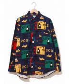 CASTELBAJAC(カステルバジャック)の古着「[古着]総柄コーデュロイシャツ」|ネイビー