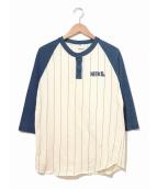 NIKE(ナイキ)の古着「[古着]70'sゴツナイキラグランベースボールTシャツ」|ベージュ×ネイビー