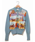 HERMES(エルメス)の古着「[OLD]シルクスカーフ地切替ニットポロシャツ」|スカイブルー