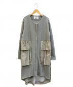 CYAN TOKYO(シアン トーキョー)の古着「ドッキングノーカラーコート」|グレー