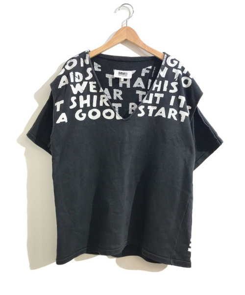 MM6(エムエムシックス)MM6 (エムエムシックス) チャリティーエイズカットオフスウェット ブラック サイズ:XS 19SS・Charity AIDSの古着・服飾アイテム