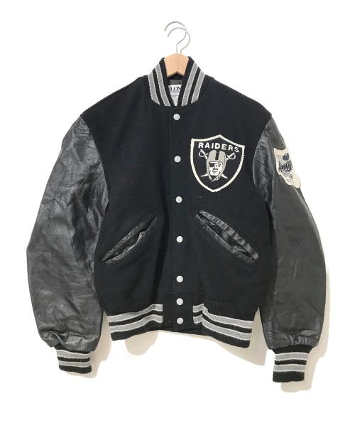 De Long(デロング)De Long (デロング) [古着]80's袖レザーNFLスタジャン ブラック サイズ:36表記 RAIDERS・ラスベガスレイダース・NFLオフィシャルの古着・服飾アイテム