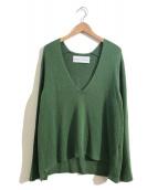 ()の古着「ストレッチシルクVネックセーター / ニット」|グリーン