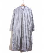 Phlannel(フランネル)の古着「ノーカラーシャツワンピース」 ネイビー×ホワイト
