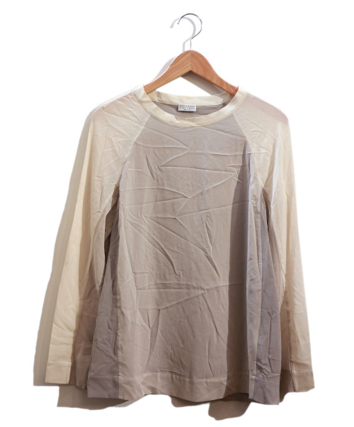 BRUNELLO CUCINELLI(ブルネロクチネリ)BRUNELLO CUCINELLI (ブルネロクチネリ) ストレッチシルクブラウス ベージュ サイズ:Sの古着・服飾アイテム