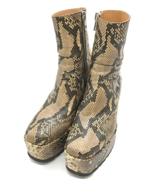 DRIES VAN NOTEN(ドリスヴァンノッテン)DRIES VAN NOTEN (ドリスヴァンノッテン) スネークプラットフォームジップアップブーツ オリーブ サイズ:41表記 Beige Snake Zip-Up Bootsの古着・服飾アイテム