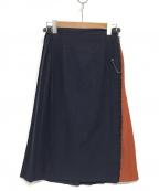 O'NEIL OF DUBLIN(オニールオブダブリン)の古着「バイカラーミディラップスカート」 ネイビー×ブラウン