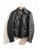 BELSTAFF()の古着「[古着]レザーダブルライダースジャケット」|ブラック