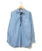 ()の古着「[古着]レースアッププルオーバーウエスタンシャツ」|ライトブルー