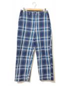 ()の古着「チェックワイドパンツ」|ブルー×ホワイト