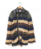 blackmeans(ブラックミーンズ)の古着「ニット切替ライダースジャケット」|ブラック