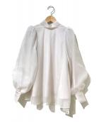 Snidel(スナイデル)の古着「オーガンシースルーブラウス」|ホワイト