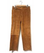 JIL SANDER(ジルサンダー)の古着「スエードレザーベルテッドパンツ」|ブラウン