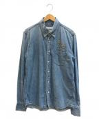 REMI RELIEF(レミレリーフ)の古着「スタッズボタンダウンデニムシャツ」|インディゴ