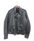 BROOKS(ブルックス)の古着「[古着]ライナー付きダブルレザーライダースジャケット」|ブラック