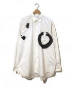 COMME des GARCONS SHIRT()の古着「[OLD]プリントオーバーサイズシャツ」 ホワイト×ブラック