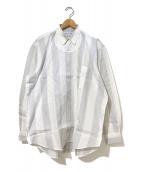 COMME des GARCONS SHIRT(コムデギャルソンシャツ)の古着「[OLD]切替ジャガードストライプオーバーシャツ」 ホワイト×グレー