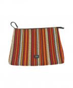 N°21(ヌメロヴェントゥーノ)の古着「ラグ織りマルチストライプクラッチバッグ」|レッド