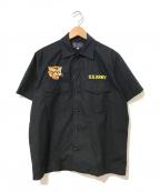 Buzz Ricksons(バズリクソンズ)の古着「ベトナムマップ刺繍シャツ」 ブラック