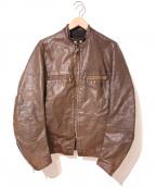 BROOKS(ブルックス)の古着「[古着]ヴィンテージ2トーンレザージャケット」|ブラウン