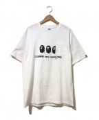 A BATHING APE×COMME des GARCONS()の古着「フロントダブルロゴポケットTシャツ」|ホワイト