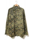 ()の古着「フラワーエンブロイダリーカウボーイシャツ」|グリーン