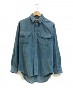 BANANA REPUBLIC(バナナリパブリック)の古着「[古着]80'sレザーパッチコーデュロイシャツ」 ネイビー×ブラウン