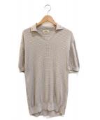 ()の古着「[OLD]コットンニットポロシャツ」|ベージュ