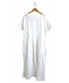 ()の古着「リネンボートネックショートスリーブワンピース」|ホワイト