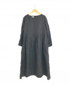 fog linen work(フォグリネンワーク)の古着「L/Sリネンロングワンピース」 ブラック