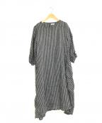 fog linen work(フォグリネンワーク)の古着「S/Sリネンロングワンピース」 ブラック