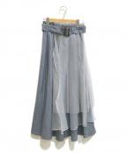la belle etude()の古着「オーガンジーチュールドッキングトレンチスカート」|ブルー×グレー