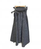 RIM.ARK(リムアーク)の古着「ウエストボリュームストライプスカート」|ブラック