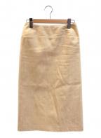 YOHJI YAMAMOTO(ヨウジヤマモト)の古着「[OLD]タイトデザインコットンスカート」|ベージュ